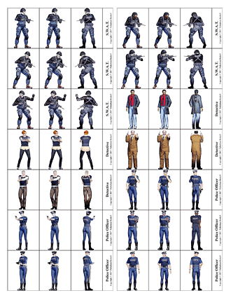 Heroes Unlimited Paper Miniatures set 2 Cops